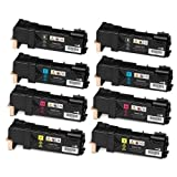 Do it Wiser ® Compatible Toner Cartridges 2 Set Black Cyan Magenta Yellow For Xerox Phaser 6500N 6500 6500DN WorkCentre 6505N 6505DN – 106R01597 106R01594 106R01595 106R01596 – Black High Yield 3,000 Pages – Color High Yield 2,500 Pages (8 pack), Office Central