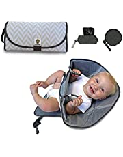 SnoofyBee Portable Clean Hands Changing Pad Bundle Set Changing Station with Redirection Barrier for use with Infants Babies Toddlers with Baggy Dispenser and Pacifier pod (Herringbone)