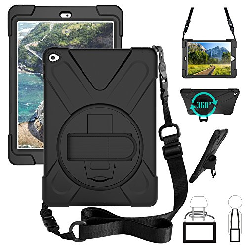 ZenRich iPad air 2 case, 360 Degrees rotable Handle Stand Hard Kickstand Layer Shockproof Dropproof Hybrid Layer Case Cover Skin with Strap Shoulder Harness for iPad Air 2nd Gen 2014 A1566/A1567