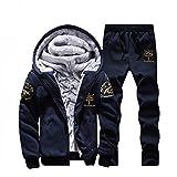 Zipper Sweater for Mens, LianMengMVP Men Hoodie Winter Warm Fleece Jacket Outwear Coat Top Pants Sets Men's Fashion Faux Leather Jacket
