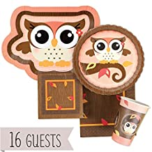 Owl Girl - Party Tableware Plates, Cups, Napkins - Bundle for 16