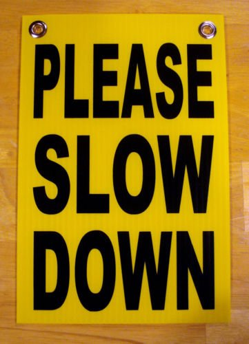 VINBOX PLEASE SLOW DOWN Coroplast SIGN with Grommets 8x12 Children Safety Sign from VINBOX
