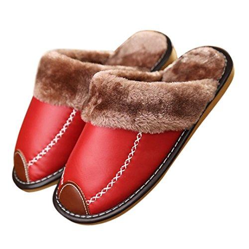 Ama (tm) Dames Katoenen Leder Zachte, Warme Indoor Home Slippers Antislip Schoenen Rood