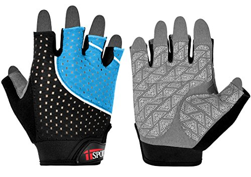 iiSPORT Weightlifting Gloves, Workout Gym Crossfit Fitness & Exercise Gloves Blue, Large