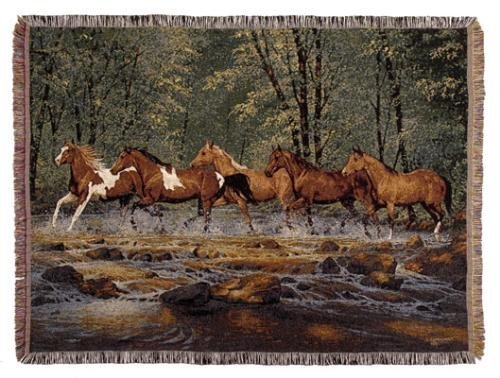 Simply Home Spring Creek Run Full-Size Deluxe Tapestry Throw Blanket Made in the USA SKU TP907