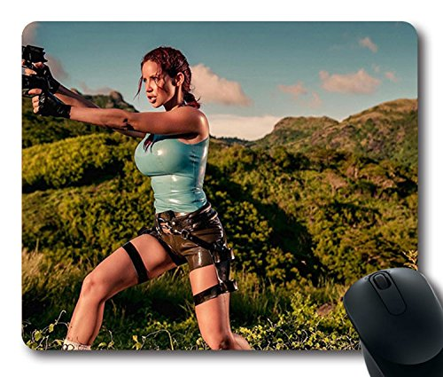 Hot Sale Custom Sexy Girl Mouse Pad with Bianca Beauchamp In A Lara Croft Costume Non-Slip Neoprene Rubber Standard Size 9 Inch(220mm) X 7 Inch(180mm) X 1/8 Inch(3mm) Mouse - Costume Lara