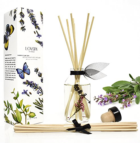 LOVSPA Lavender & Clary Sage Aromatherapy Essential Oil Reed Diffuser Oil Gift Set | Premium Reed Sticks for Long-Lasting Fragrance Diffusion | Thoughtful Gift for Mom, Grandma, Aunt or Wife