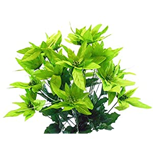 "Lime Christmas Poinsettia Bush 24 Artificial Silk Flowers 24"" Bouquet 030LIM 1"