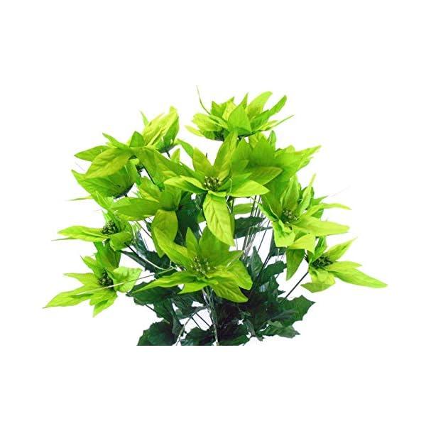 "Lime Christmas Poinsettia Bush 24 Artificial Silk Flowers 24"" Bouquet 030LIM"