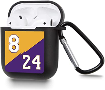 Jusy 8/&24 Basketball Shirt Case for Airpod 1/&2 Case Silicone Skin Protective Airpod Cover with Carabiner Style Keychain Clip Compatible with Airpods Charging Case Best Gift for Teens Valentines Day