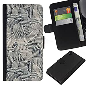 All Phone Most Case / Oferta Especial Cáscara Funda de cuero Monedero Cubierta de proteccion Caso / Wallet Case for Sony Xperia Z2 D6502 // Art Painting Shapes Black White