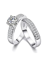 Lunule 2Pcs Plated Platinum Couples Rings His Hers Cubic Zirconia Matching Band Ring Sets
