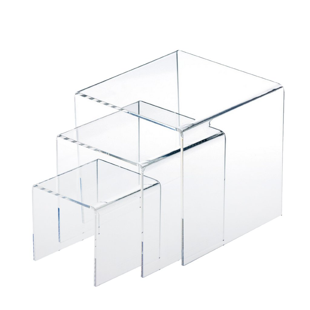 Jili Online 3,4,5 Inch Square Acrylic 1/8'' Riser Display Stands Showcase Set, Clear