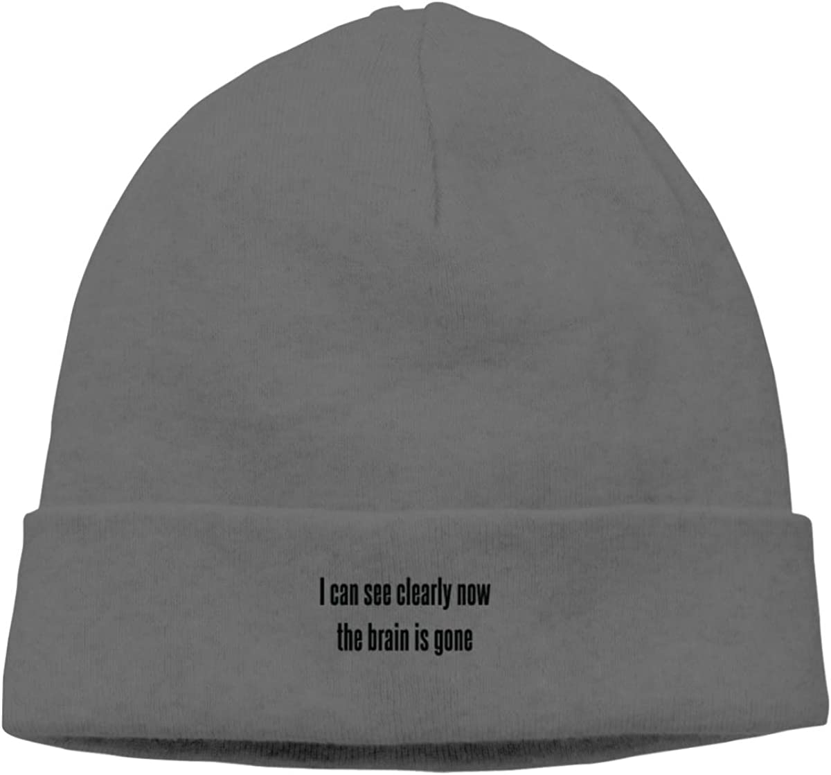 I Can See Clearly Now The Brain is Gone Knit Caps Beanie Hat Skull for Mens Deep Heather