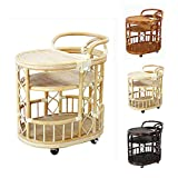 Serving Cart Handmade Woven Natural Rattan Wicker with Wheels White Wash Fully Assembled