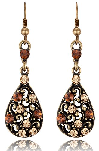 Vintage Inspired Teardrop Topaz Color Rhinestone Dangle Earrings (Unique Costume)
