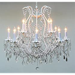 Wrought Iron Crystal Chandelier Lighting 12 Lights Country French, ht30 X wd28 Ceiling Fixture