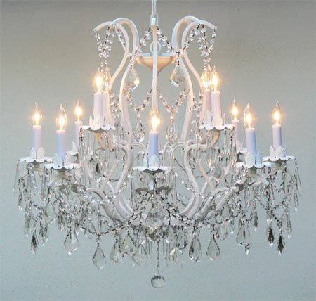 Versailles Wrought Iron Chandelier - Wrought Iron Crystal Chandelier Lighting 12 Lights Country French, ht30 X wd28 Ceiling Fixture