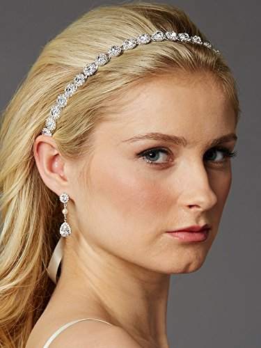 Mariell Silver Wedding Bridal Headband with Round Crystals and Ivory Ribbons