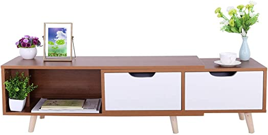 US Fast Shipment Quaanti Modern Length Stretchable TV Stand,TV Cabinet with Doors and Shelves,Media Console Table with 2 Drawers for Living Room Furniture,Accommodates 55 TV Size to 75 TV Wild oak