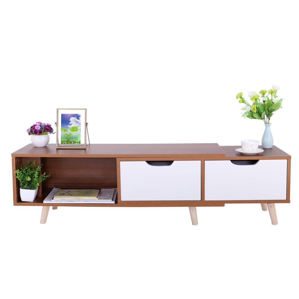 Hstore Simple Modern TV Stand, TV Console, TV Cabinet Living Room Furniture Mini Telescopic TV Cabinet, in Living Room Entertainment Room Office (US Stock)