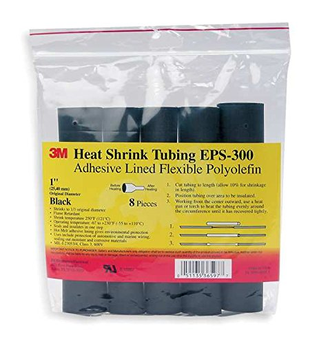 3M EPS300-1/4-6''-Black-10-10 Heat Shrink Thin-Wall Flexible Polyolefin Adhesive-Lined Tubing EPS300-1/4-6''-Black-10-10 Pc Pks, 6'' length sticks (Pack of 10)