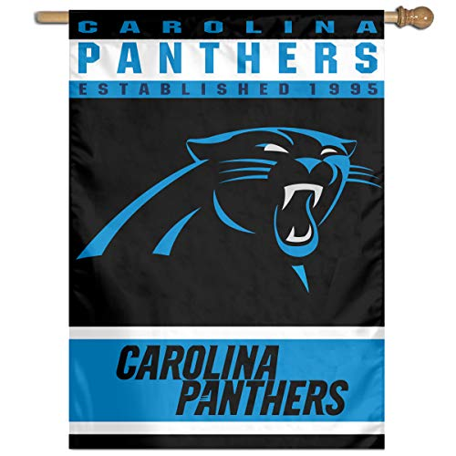 Marrytiny Design House Flag American Football Team Carolina Panthers 100% Polyester Home Garden Wall Flags Decoration 27x37 Inch