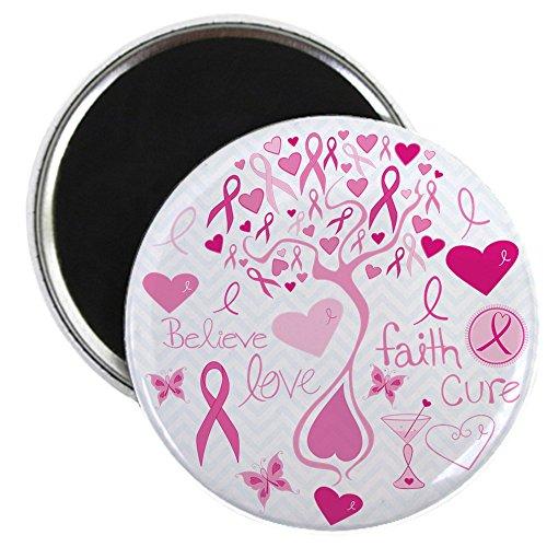 2.25 Inch Magnet Cancer Cure Awareness Love (Komen Pink Ribbon)