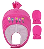 Kids Baby Toddlers Sherps Lined Embroidered Fleece Hat Mitten Set S