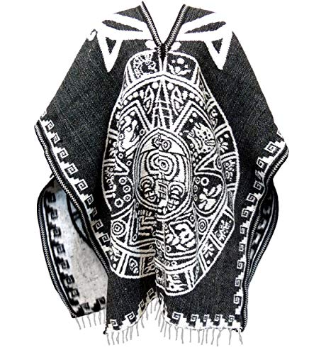 Authentic Mexican Poncho Reversible Cobija Blanket - Aztec