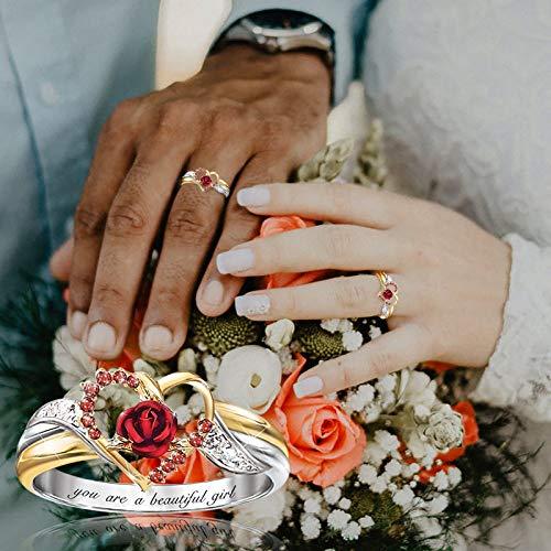 Muttertagsring Einzigartiger kleiner Tier Diamantbeschriftung weiblicher Ringschmuck Hochzeit Verlobungsfeier Schmuck(B-Mehrfarbig,8)