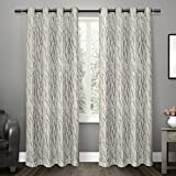 Cheap Exclusive Home Oakdale Motif Textured Linen Window Curtain Panel Pair with Grommet Top 54×84 Dove Grey 2 Piece