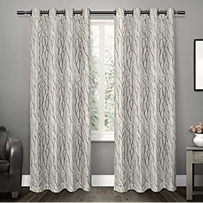 "Exclusive Home Curtains Oakdale Sheer Textured Linen Grommet Top Curtain Panel Pair, 54x96, Dove Grey, 2 Piece - Oakdale panels offer a natural printed motif on a sheer, textured linen look fabric Includes:  Two (2) curtain panels, each measuring:   54""W x 96""L 8 matte silver grommets per panel; inside diameter for curtain rod measures 1-5/8"" - panel sewn with 4"" heading; 3"" bottom hem - living-room-soft-furnishings, living-room, draperies-curtains-shades - 51ukYUEEexL. SS400  -"