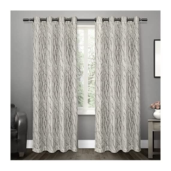 """Exclusive Home Curtains Oakdale Sheer Textured Linen Grommet Top Curtain Panel Pair, 54x96, Dove Grey, 2 Count - Oakdale panels offer a natural printed motif on a sheer, textured linen look fabric Includes:  Two (2) curtain panels, each measuring:   54""""W x 96""""L 8 matte silver grommets per panel; inside diameter for curtain rod measures 1-5/8"""" - panel sewn with 4"""" heading; 3"""" bottom hem - living-room-soft-furnishings, living-room, draperies-curtains-shades - 51ukYUEEexL. SS570  -"""