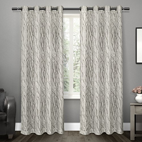 Exclusive Home Oakdale Motif Textured Linen Window Curtain Panel Pair with Grommet Top 54x84 Dove Grey 2 Piece (Drapery Panels Long Top Tab)