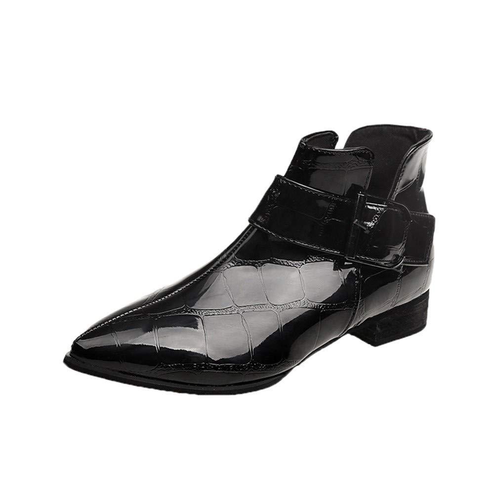 TianWlio Damen Stiefel Stiefeletten Frauen Mode Solides Leder Zipper Dick Martin Stiefel Runde Zehe Schuhe