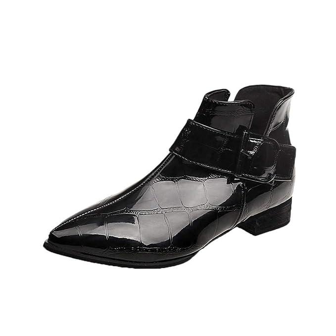 ❤ Botas Cortas para Mujer Puntiagudas, Invierno Moda para Mujer Sólido Cremallera de Cuero Botas Gruesas Zapatos con Punta Redonda Absolute: Amazon.es: ...