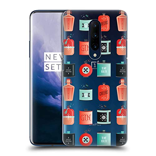 Official Cat Coquillette Red Turquoise Flasks Patterns 4 Hard Back Case Compatible for OnePlus 7 Pro ()