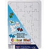 Puzzle vierge en carton blanc à décorer avec fond et cadre, 20 pièces, 14,8x21cm