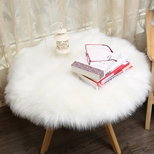 Small Faux Fur (Meng Ge Faux Silky Deluxe Sheepskin Round Area Shag Rug Children Play Carpet For Living & Bedroom(2ft Diameter,Milky))