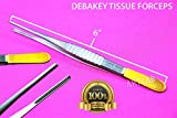 1 New! German DEBAKEY Forceps Vascular Tissue Forceps with Gold Handle Tips 6'' HIGH Grade (CYNAMED)