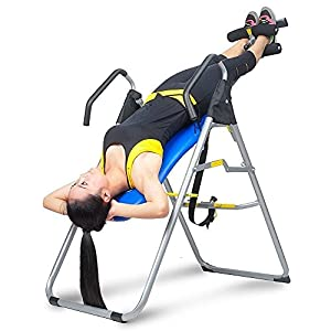Ainfox Heavy Duty Inversion Table, Thrapy System Adjustable Height and Wide Fitness Equipment Relief of Back Pain Safety Support Blue