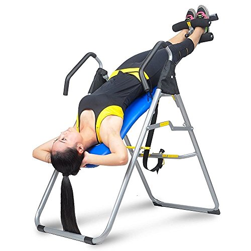 Ainfox Heavy Duty Inversion Table Thrapy System Adjustable Height and Wide Fitness Equipment Blue