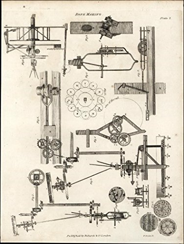 Rope making engineering mechanics gears industry 1812 antique engraved print