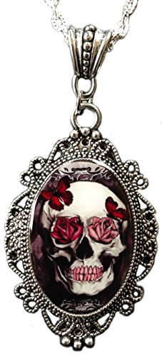 Alkemie Apparel Rose Skull Cameo Necklace