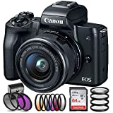 Canon EOS M50 Mirrorless Digital Camera with 15-45mm Lens with SanDisk Ultra 64GB SDXC Memory Card, 6 Piece Graduated Color Filter Set, HD Macro Close Up Lenses, (International Version No Warranty)