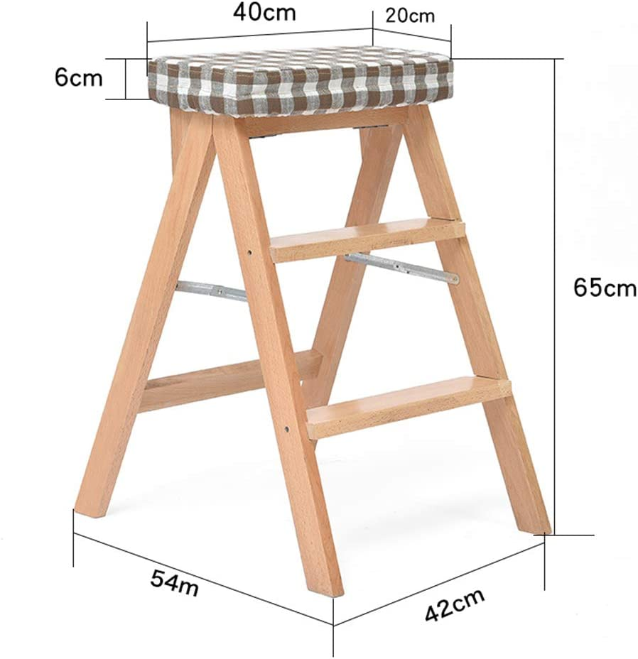 step stool Foldable Kitchen High Stool Creative Portable Solid Wood Bench Home Adult Multifunctional Chair Solid Wood Inner Frame + PU Fabric/fabric Fabric B