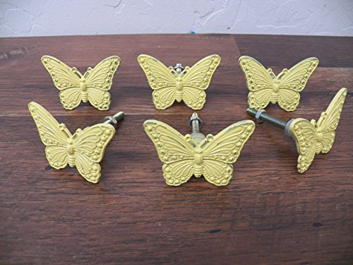 Set Lot of 6 Vintage-Look Yellow Metal Small Butterfly Knobs Drawer Pulls - Nerd A Halloween For Being