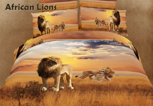 African Lions - Safari Themed - 6 Pc. King Duvet Cover Bedding Set (1 Duvet Cover, 1 Fitted Bed Sheet, 2 Shams, 2 Pillow Cases) - Includes a Gift Box and Gift Bag - SAVE BIG ON (Dolce King Comforter)
