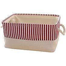 TcaFmac Small Fabric Storage Basket Bin for Gifts Empty Canvas Toy Storage Organizer Baby Basket 14 x 10 x 7 inch